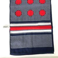 VTG Nashaar Polka Dot Scarf MOD MCM Mid Century Bold Pattern Red White Blue Neck