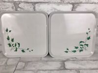 2 Vintage Serv-a-dish Square Metal Serving Tray Snack Classic White Farmhouse