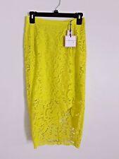 Bisou Bisou Skirt Womens Midi Asymmetrical Neon Green Lace Pencil Size 2