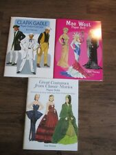 3-Paper Doll Books~Clark Gable,Great Costumes from Classic Movies,Mae West