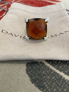 David Yurman 20mm Cushion on Point Citrine Diamond Ring Size 5.5