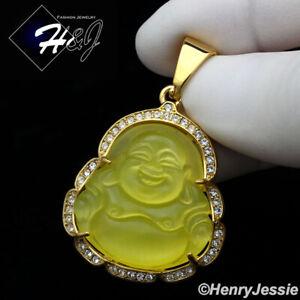 MEN WOMEN Stainless Steel Yellow Gemstone Gold Buddha Charm Pendant*GP117