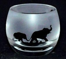 *ELEPHANT* Boxed CRYSTAL GLASS TEA LIGHT CANDLE HOLDER