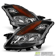 Black Headlamps For 2008 2009 Altima 2Dr Coupe Halogen Headlights Set Left+Right