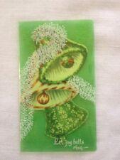 Vintage Christmas Bells Green Over-lay Unused Card