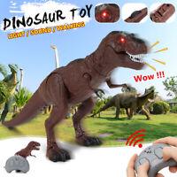Light Up Remote Walking Dinosaur Kids LED Toy Figure W/ Sound Real Movement