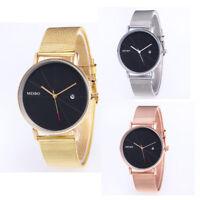 Fashion Classic Mens Women Mesh Band Stainless Steel Calendar Quartz Wrist Watch