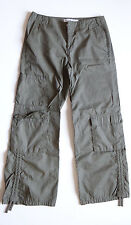 Tommy Hilfiger Olive Camo Green Nylon Jeans Womans Tied Capris Summer Size 2