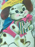 Vintage Fathers Day Card Puppy Dog In Clothes Hat Present Grandpa