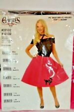 Women's Pink Poodle 50's Adult Costume Skirt Velvet Top Scarf Size 3 - 5 XS NEW