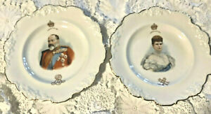 1902 King Edward Vll & Queen Alexandria Matching Royal Doulton Coronation Plates