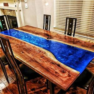 Luxury Custom Epoxy Resin Walnut Dining River Blue Epoxy Table Made To Order