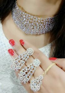 Indian Bollywood CZ AD White Gold Plated Fashion Jewelry Necklace Tikka Earrings