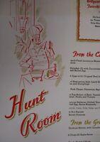 Vintage 1958 Hunt Room The Bellevue Stratford Hotel Restaurant Menu Philadelphia