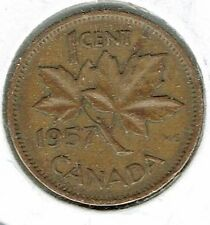 1957 Canadian Circulated One Cent Elizabeth II Coin!