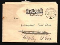 Germany 1941 Stampless Feldpost Cover w/ Letter - L1080