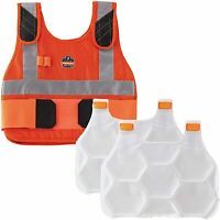 Cooling High Visibility Vest with 2 Ice Packs, Flame Resistant, Flexible Design,