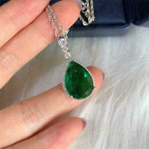 "4Ct Pear Cut Green Emerald Halo Pendant 14K White Gold Finish 18"" Free Chain"