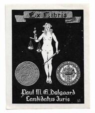 "BERNHARD KUHLMANN: Exlibris für Paul M. E. Dalgaard ""Candidatus Juris"", Akt"