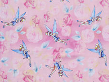 Disney Tinkerbell Tink with roses Pink 100% cotton Fabric Remnant 29""