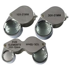 New 3pc Jewelers Loupe Set 10x 30x + 10x-20x Magnifying Glass Lens Optical Tool
