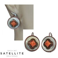 SATELLITE Boucles d'oreilles fantaisies cuivre patiné blanc orange bijou