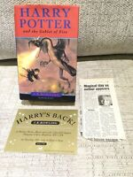 J.K Rowling Harry Potter Goblet of Fire signed first ed 1st Print Errors+ Ticket