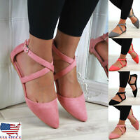 Women Flat Ankle Cross Strap Sandals Shoes Pointed Closed Toe Comfy Smart Shoes