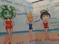 1940s Vtg ANTHROPOMORPHIC Beach GIRLS Lettuce Squash Bean Turnip GREETING CARD
