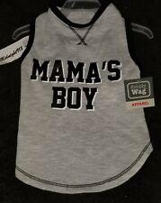"NEW SIMPLY WAG ""MAMA'S BOY"" DOG TANK TOP SHIRT.  GREY/BLACK  SZ SMALL"