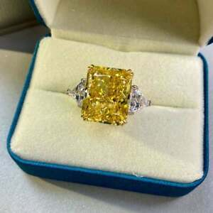 Canary Diamond Ring 12ct HUGE 16x13mm Yellow Cusion Radiant image