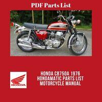 Honda GL1000 1976 1977 GL1000L 1976 Gold Wing Parts List Motorcycle Manual
