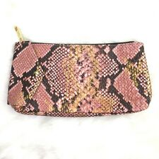 Estee Lauder Pink Gold Reptile AnimalPattern Leather Make up Clutch Wallet Purse