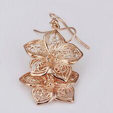 Lady Flower 18k Rose Gold Plated Piercing Earring Crystal Eardrop Dangle Jewelry