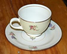 Tea Cup & Saucer 1940's  Priscilla Pattern HOUSEHOLD INSTITUTE 1-set