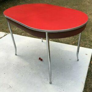 **Vintage HOWELL CHROMSTEEL DINING TABLE RED CHROME MODEL 60P JUNE 1948 ATOMIC