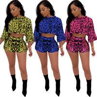 Sexy Women Leopard Print Crew Neck Loose Crop Top Casual Club Short Jumpsuit 2pc