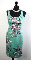 Exquiste COAST Green Floral Cotton Elastane Wiggle Dress Size UK 8
