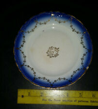 Vintage Cobalt blue and white, Gold Trim Decorative Plate La Francaise Porcelain