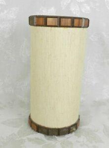 Vintage Small Linen Drum Lamp Shade Clip On Bakelite Wood Veneer MCM