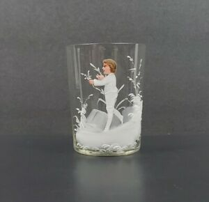 Antique Beautifully Hand Painted Boy Holding Flowers Mary Gregory Glass Tumbler