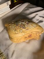 Antique Victorian Art Nouveau Porcelain Trinket Box~Hand-painted Florals~Gift