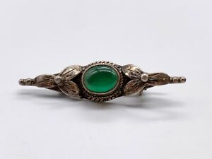 ANTIQUE VICTORIAN SOLID STERLING SILVER EMERALD GREEN GLASS LADIES PIN BROOCH