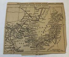 1904 newspaper map ~ FAR EAST ~ Japan, Manchuria, China, Iberia, Mongolia