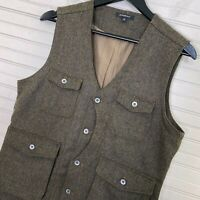 Jeremiah Men's Porter Herringbone Wool Button Vest Brown Men's Size M