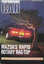PERFORMANCE CAR 01/1989 featuring Mazda RX-7, Audi Quattro, Corvette, Porsche
