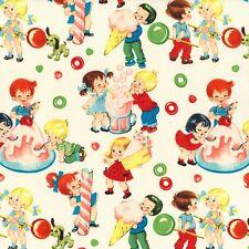 Michael Miller Candy Shop Fabric in cream .Childrens, fun, retro. By Fat Quarter