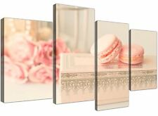 Large Pink Cream French Shabby Chic Bedroom Abstract Canvas Multi 4 Panel - 4284