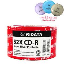 50 Ridata CD-R 52X Silver Inkjet Printable Blank Disc + Free 12 Disc CD DVD Case