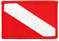 DIVER DOWN FLAG EMBROIDERED PATCH Scuba Diving Gift NEW iron-on RED EMBLEM